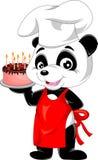 Bande dessinée de panda avec le gâteau d'anniversaire Photographie stock