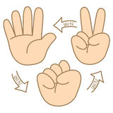Bande dessinée de papier de roche de ciseaux comment jouer Image stock