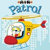 Bande dessinée de patrouille aérienne avec l'hélicoptère jaune Photos stock