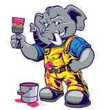 Bande dessinée de peintre d'éléphant Photographie stock