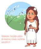 Bande dessinée de Persephone de déesse du grec ancien photo libre de droits