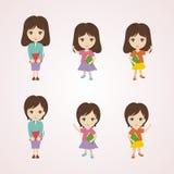 Bande dessinée de petite fille avec le beau et mignon caractère illustration libre de droits