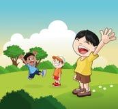 Bande dessinée de petits enfants heureux, illustration de vecteur Photos libres de droits
