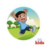 Bande dessinée de petits enfants heureux, illustration de vecteur Image stock