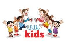 Bande dessinée de petits enfants heureux, illustration de vecteur Photographie stock libre de droits