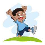 Bande dessinée de petits enfants heureux, illustration de vecteur Photo libre de droits