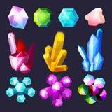 Bande dessinée de pierres gemmes Les cristaux basculent les pierres et ensemble de vecteur d'améthyste de quartz le grand d'isole illustration de vecteur