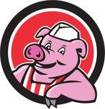 Bande dessinée de Pig Leaning Circle de boucher Photos stock