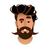 Bande dessinée de portrait d'un homme barbu dans un raseur-coiffeur La tête est b Photo stock