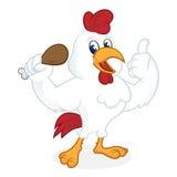 Bande dessinée de poulet tenant le poulet frit et renonçant au pouce illustration de vecteur