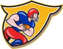 Bande dessinée de précipitation de bouclier de running back de football américain Images libres de droits