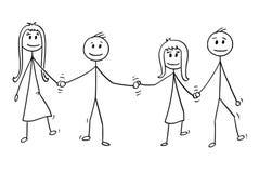 Bande dessinée de quatre enfants, garçons et filles, marchant ensemble tout en tenant des mains illustration stock