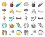 Bande dessinée de repos d'été, icônes mono dans la collection réglée pour la conception Illustration accessoire de Web d'actions  illustration stock