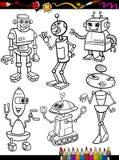 Bande dessinée de robots réglée pour livre de coloriage illustration de vecteur