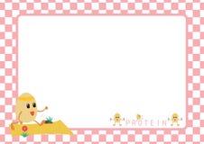 Bande dessinée de séance d'entraînement d'oeufs dans le cadre de tableau rose Photos stock
