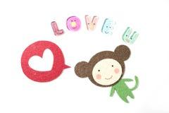 Bande dessinée de singe indiquant l'amour vous Photo libre de droits