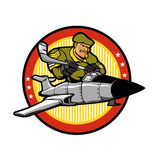 Bande dessinée de soldat dans des avions Emblème d'hockey Photo stock