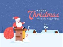 Bande dessinée de sourire heureuse mignonne Santa se reposant sur la pile de cheminée ou le smo illustration libre de droits