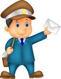 Bande dessinée de transporteur de courrier avec le sac et la lettre Photos libres de droits