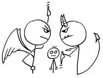 Bande dessinée de vecteur d'ange et diable discutant le combat au sujet de l'homme Photographie stock