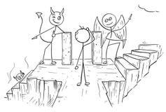 Bande dessinée de vecteur d'ange et diable montrant à homme deux chemins vers l'enfer A illustration de vecteur
