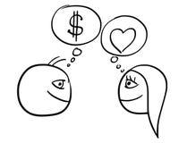 Bande dessinée de vecteur de différence de pensée de l'homme et de femme au sujet d'argent illustration libre de droits