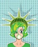 Bande dessinée de vecteur de Mlle America Images stock
