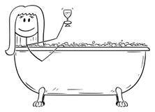 Bande dessin?e de vecteur de femme d?tendant dans le baquet en lots avec le verre de vin illustration de vecteur
