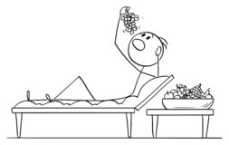 Bande dessinée de vecteur de l'homme ou de l'homme d'affaires Lying sur le divan en style romain ou Lucullan et raisins ou fruit  illustration de vecteur