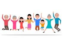 Bande dessinée de vecteur sautant les personnes de sourire heureuses Photo libre de droits