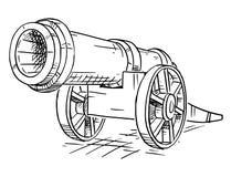 Bande dessinée de vieux canon à roues antique d'artillerie illustration stock