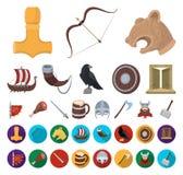 Bande dessinée de Vikings et d'attributs, icônes plates dans la collection réglée pour la conception Vieux Web d'actions de symbo illustration de vecteur