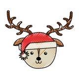 Bande dessinée de visage de cerfs communs de Noël illustration stock