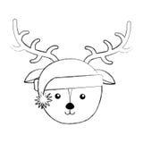 Bande dessinée de visage de cerfs communs de Noël illustration libre de droits