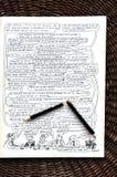 Bande dessinée de Wolinski et crayon cassé Photo libre de droits
