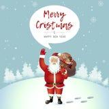Bande dessinée debout de sourire de Santa Claus seule ondulant son chariot de main Photo stock