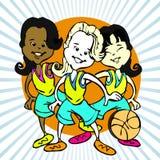 Bande dessinée des filles de basket-ball illustration stock