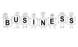 Bande dessinée des hommes d'affaires et des femmes d'affaires tenant des signes avec le texte d'affaires Photographie stock