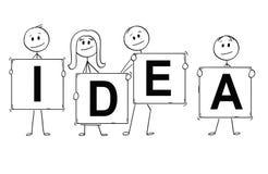 Bande dessinée des hommes d'affaires et des femmes d'affaires tenant des signes avec le texte d'idée Images stock