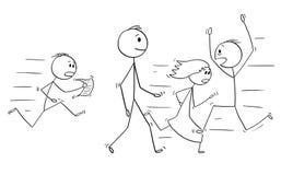 Bande dessinée des personnes sûres d'homme ou de Walking Slowly With d'homme d'affaires se dépêchant dans l'effort autour illustration stock