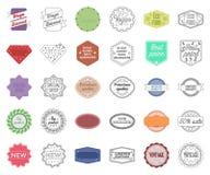 Bande dessinée différente de label, icônes d'ensemble dans la collection réglée pour la conception L'index et la marque dirigent  illustration de vecteur