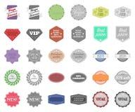 Bande dessinée différente de label, icônes de monochrom dans la collection réglée pour la conception Indexez et Web d'actions de  illustration de vecteur