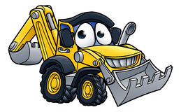 Bande dessinée Digger Bulldozer Character illustration stock