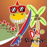 Bande dessinée drôle de dinosaure avec la planche de surf illustration de vecteur