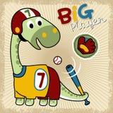 Bande dessinée drôle de joueur de baseball sur le cadre d'éclaboussure Images stock