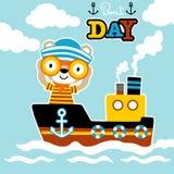 Bande dessinée drôle de marin avec binoculaire sur le bateau Images stock