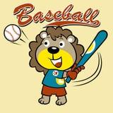 Bande dessinée drôle de petit joueur de baseball Images stock