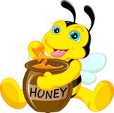 Bande dessinée drôle d'abeille avec du miel illustration de vecteur