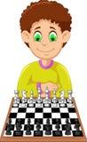Bande dessinée drôle de garçon jouant des échecs illustration libre de droits