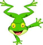 Bande dessinée drôle de grenouille se tenant sur sa main Images stock